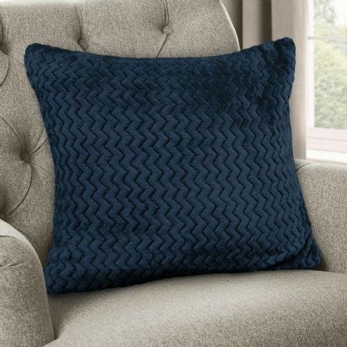 Large Luxury Chevron Zig Zag Super Soft Velvet Plush Scatter Cushion Plain Navy 56cm x 56cm